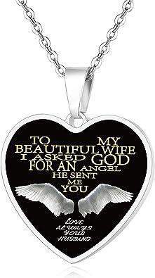Fayerxl Personalized Gift Ideas To My Wife Heart Pendant Necklace Birthday Christmas Wedding Angel Amazon Co Uk Jewellery