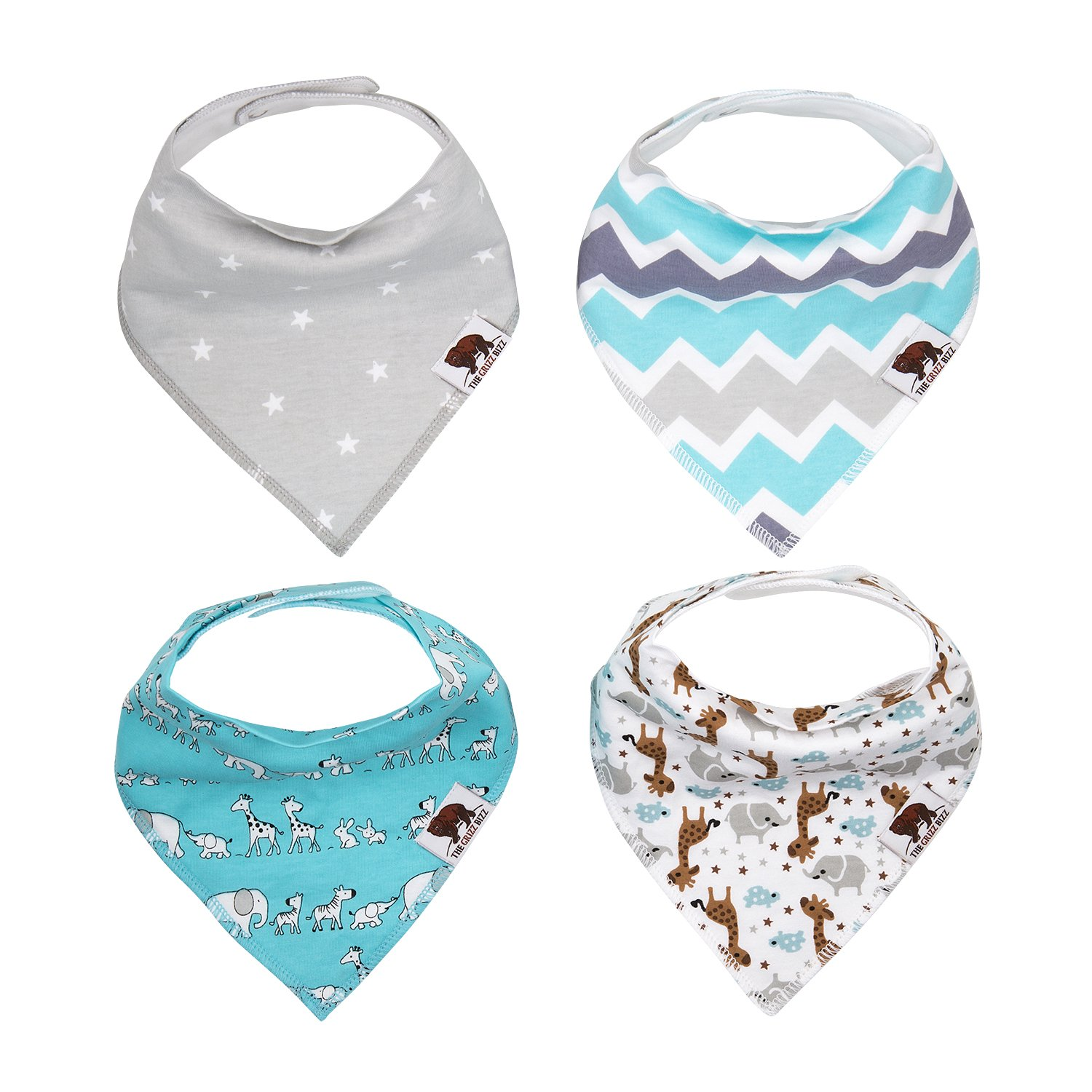 The Grizz Bizz Baby Organic Cotton Drool Bibs, (Pack of 4) - Neutral Pattern + Animal