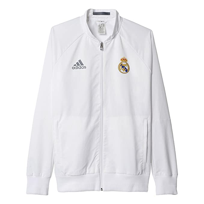 adidas Mens Real Madrid White Anthem Jacket (Large)