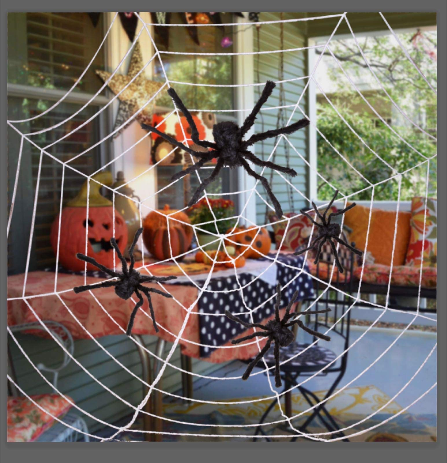 Four Halloween Realistic Hairy Spiders Set, Valuable Halloween Props, Halloween Spider Set for Indoor and Outside Decorations by JOYIN (Image #6)