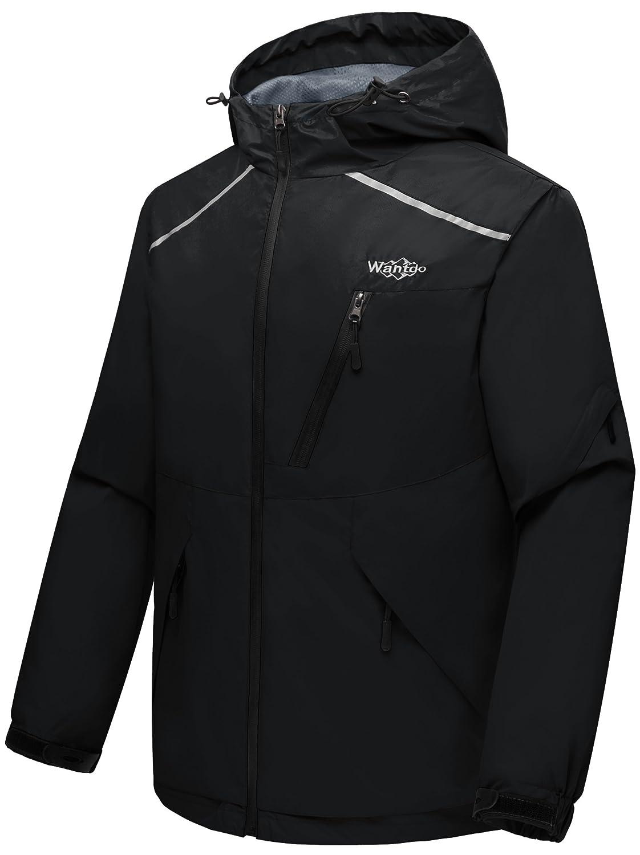 Wantdo Mens Mountain Windproof Rain Jacket Breathable Hooded Windbreaker Outdoor Lightweight Raincoat for Camping Hiking