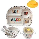 Shopwithgreen 5Pcs/Set Bamboo Fiber Children Board Food Plate Bowl Cup Spoon Fork Set Dishware Cartoon Tableware Dishwasher S
