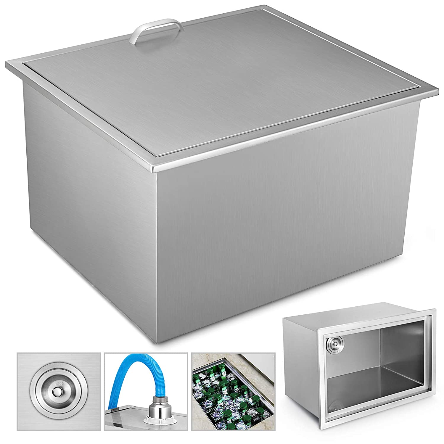 """VEVOR 23"""" x 17"""" Drop in Ice Chest Bin 304 Stainless Steel Ice Chest with Cover 23x17x12 Inch Drop in Cooler for Wine Beer Juice"""