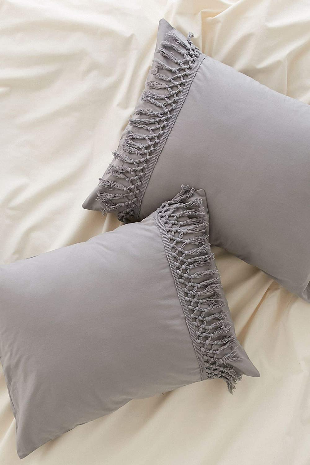 Flber Pillowcases Gray Tassel Sham Cotton Pillow Covers,Set of 2 18.9in x29.1in Gray Queen