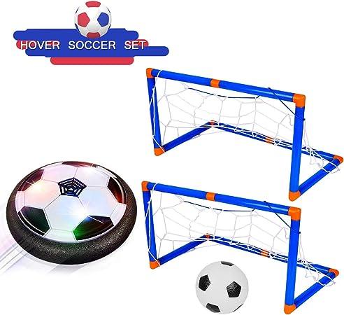 Shayson Porterias de Futbol para niños-Juego Deportivo para niños-Air Power Soccer Ball con Luces LED, Juguetes para niños, entrenando fútbol al Aire Libre en Interiores con 2 Puertas: Amazon.es: Juguetes y juegos