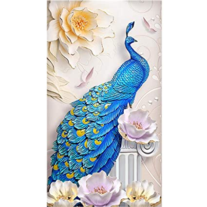 45931bb2e6 Amazon.com: TOCARE Large Full Diamond Painting by Numbers Kits 60x110CM  Lucky Bird Animals Elegant Peacock Embroidery Cross Stitch: Wall Art