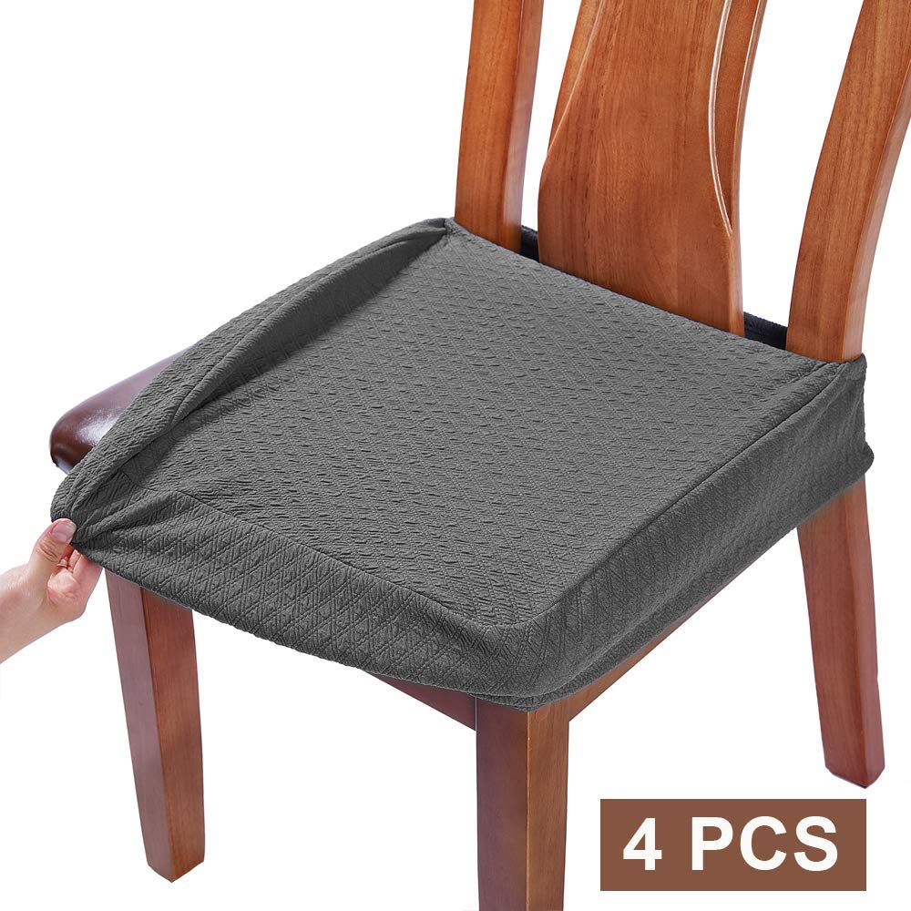 BUYUE Dining Room Chair Covers Washable Jacquard Stretch Seat Cushion Protector for Upholstered Chair Slipcover (Style B,Set of 4, Gray) by BUYUE