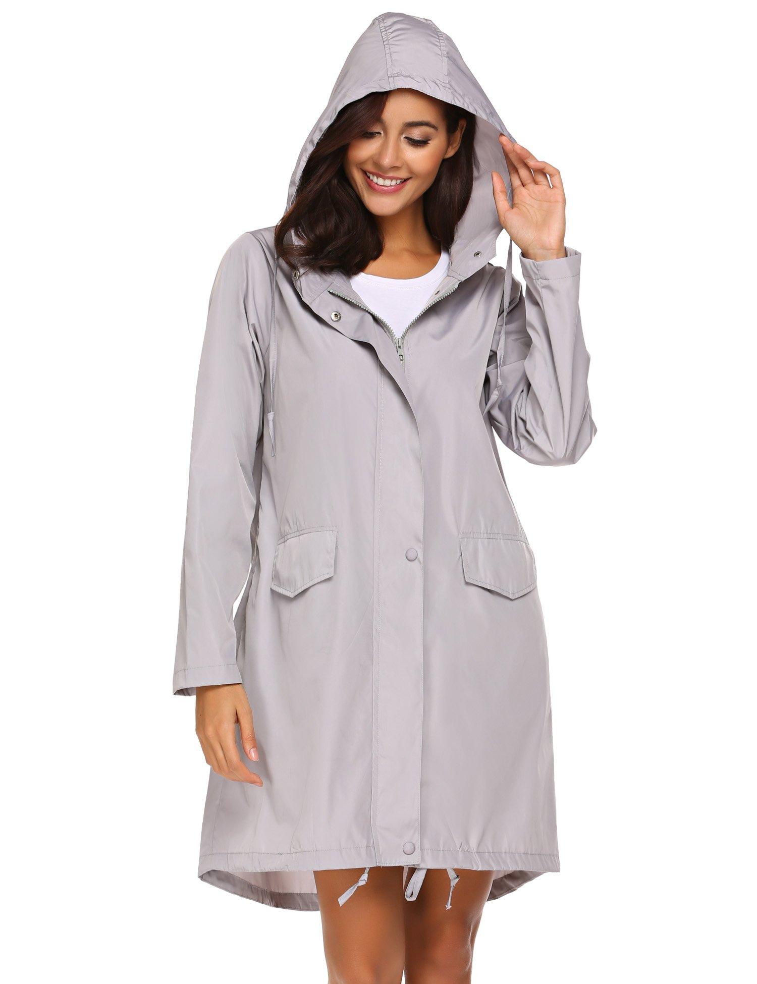 Teewanna Women Lightweight Windbreaker Waterproof Long Rain Hooded Jacket Drawstring (Grey XL)
