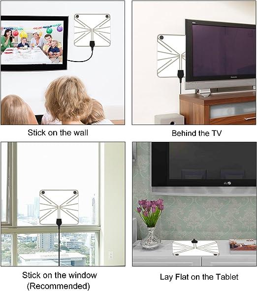 TV Antena, Antena de TV Digital de Interior HD con 80 Millas Largo Alcance Amplificador de señal Amplificador HDTV Upgraded version-10ft Cable Coaxial: Amazon.es: Electrónica
