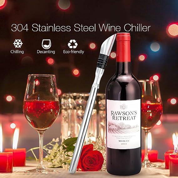 Enfriador Vino Enfriador Botellas Con varilla enfriamiento Accesorios Vino 304 Enfriador Acero Inoxidable Enfriador De Vino 3 en 1 Con As Silicona De Grado ...