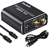 Digital to Analog Audio Converter-192kHz Techole Aluminum Optical to RCA with Optical &Coaxial Cable. Digital SPDIF…