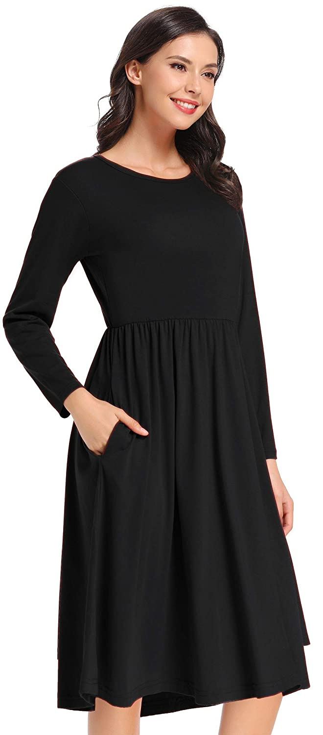 Womens Long Sleeve Pockets Winter Dress Casual Fall Midi Empire Waist Swing Dress