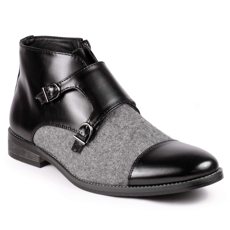 Metrocharm MC117 Men's Cap Toe Double Monk Strap Formal Dress Casual Ankle Boots (12 D(M) US, Black/Gray) by Metrocharm