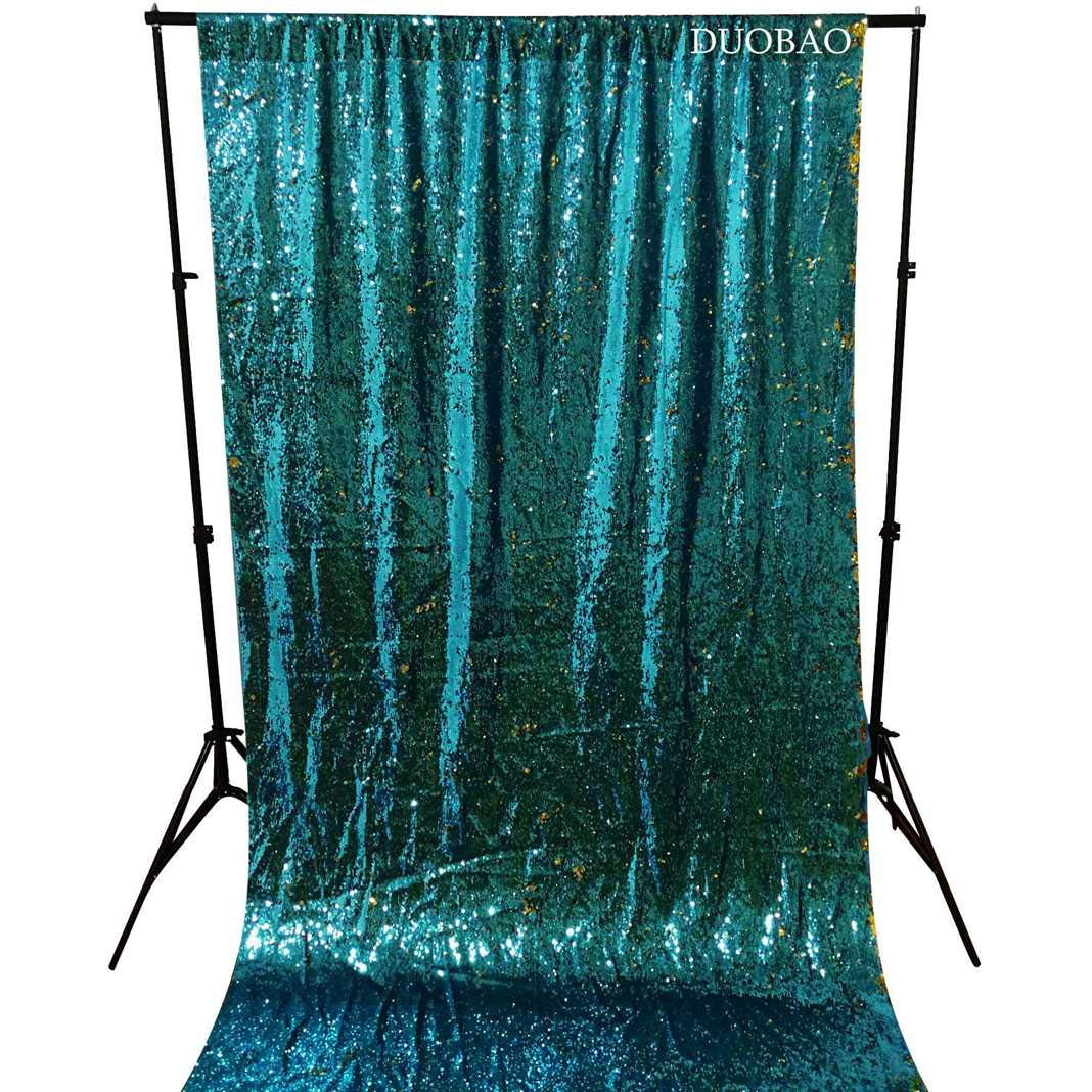 DUOBAO Sequin Backdrop 20FTx10FT Turquoise to Gold Glitter Backdrop Curtain Mermaid Reversible Sequin Curtains Beautiful Background by DUOBAO (Image #4)