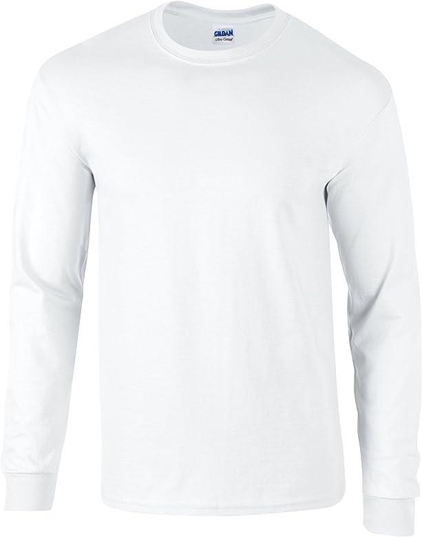 Gildan – Camiseta de algodón manga larga blanco blanco X-Large ...
