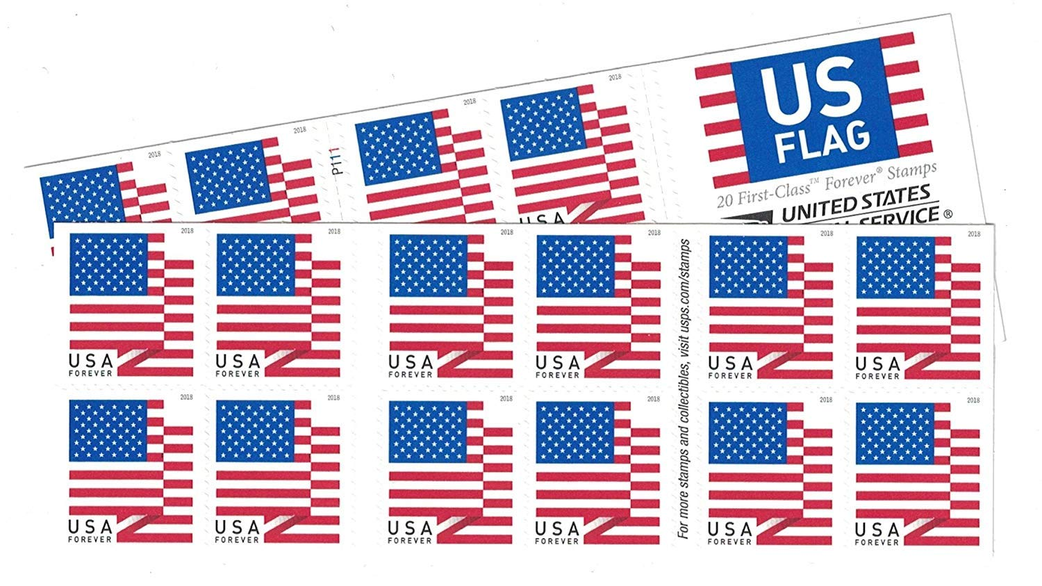 USPS Us-Flag-Forever-Stamps-40 US Flag Forever Stamps - 40 Stamps (Two Books of 20) Packaging May Vary, Blue Red White by USPS