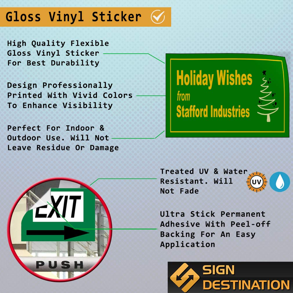 Custom Door Decals Vinyl Stickers Multiple Sizes Holiday Wishes from Name Lifestyle Holiday Wishes Outdoor Luggage /& Bumper Stickers for Cars Green 52X34Inches Set of 2