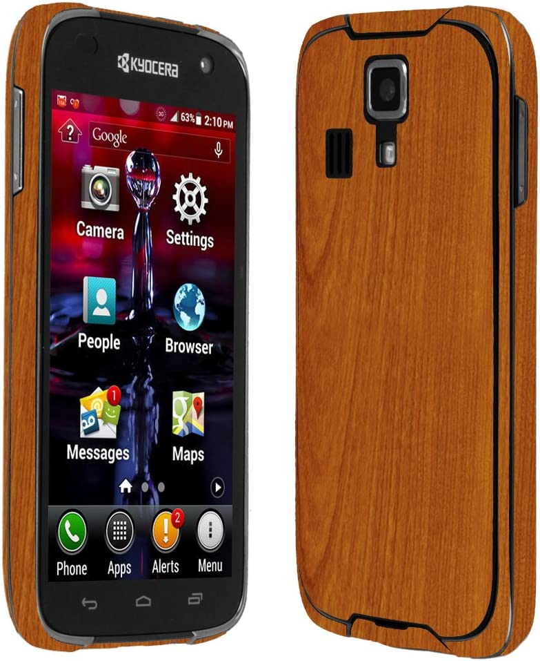 Skinomi Light Wood Full Body Skin Compatible with Kyocera DuraForce Full Coverage TechSkin with Anti-Bubble Clear Film Screen Protector