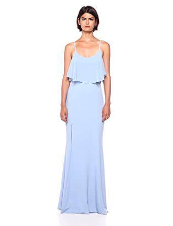 e6d62a060a2 Dress the Population Women s Diana Cold Shoulder Flutter Fitted Crepe Gown  with Slit