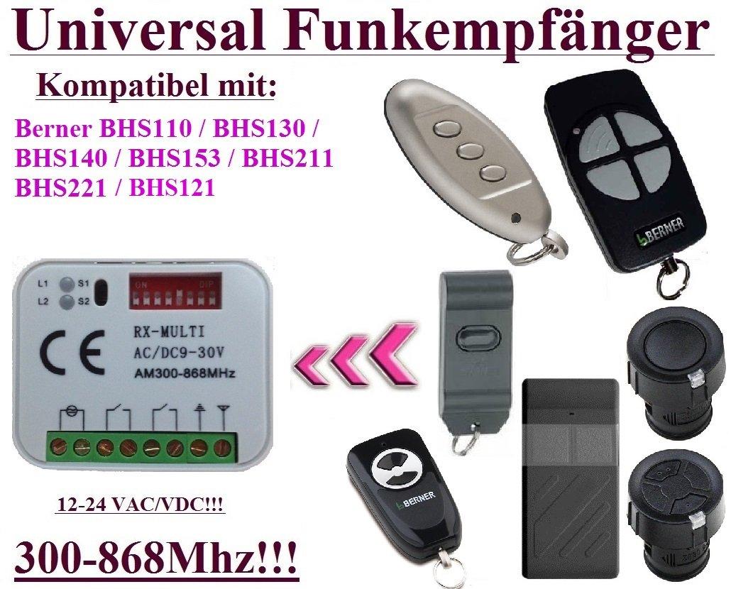 Universal Funkempfänger kompatibel mit Berner 868,3Mhz BHS110, BHS121, BHS130, BHS140, BHS153, BHS211, BHS221 handsender. 2-befehl Rolling Fixed code 300Mhz-868Mhz 12 - 24 VAC/DC Funkempfänger.