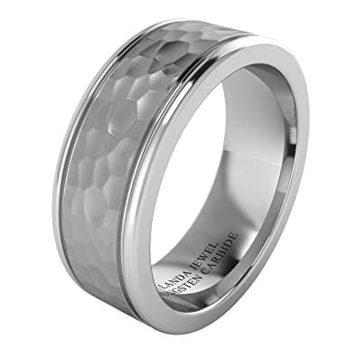 e9e601cf5094 Super Heavy Tungsten Carbide 8mm Comfort Fit Hammered Wedding Band Mens  Ring Dual Grooves Matt Multi-faceted Center Polished Sides  Amazon.co.uk   Jewellery