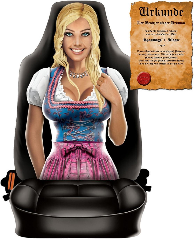 Goodman Design  Witziger Sitzbezug f/ürs Auto mit hochwertigem Aufdruck Im Set mit gratis Urkunde Spassvogel 1 Trachten Frau Klasse