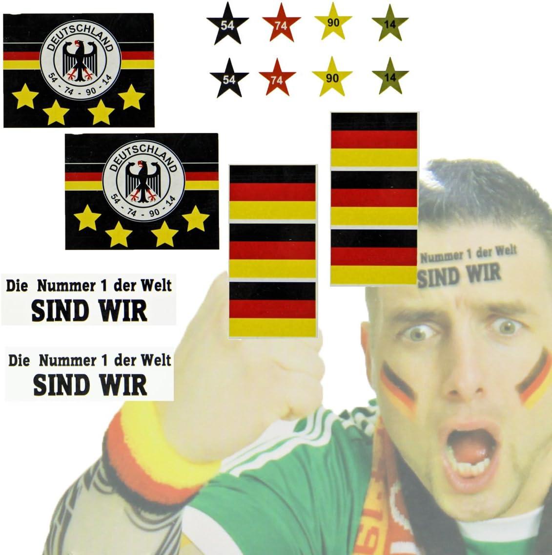 Bada Bing 12 tlg Set Fan Tattoos Deutschland WM EM Sticker F/ür Die Haut Fu/ßball Fanartikel Sport 85
