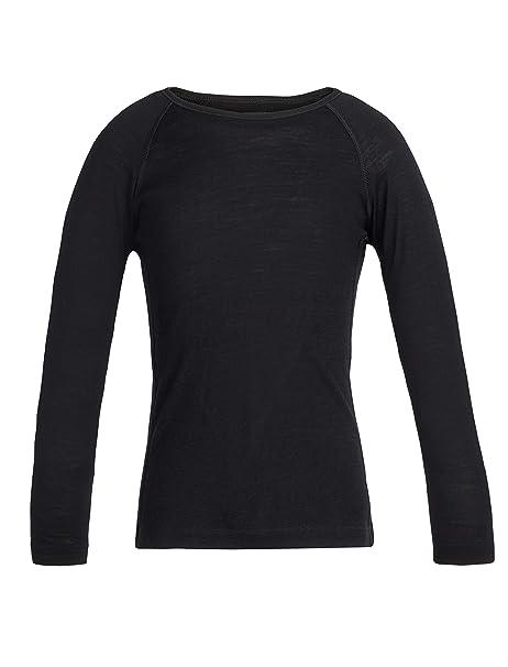 5371b29b5f6 Amazon.com: Icebreaker Merino Kids 200 Oasis Long Sleeve Crewe Top, Black,  Size 10: Clothing