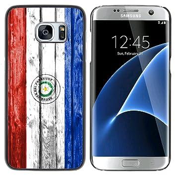 FJCases Paraguay Paraguayo Bandera con Patrón de Madera Carcasa Funda Rigida para Samsung Galaxy S7 Edge