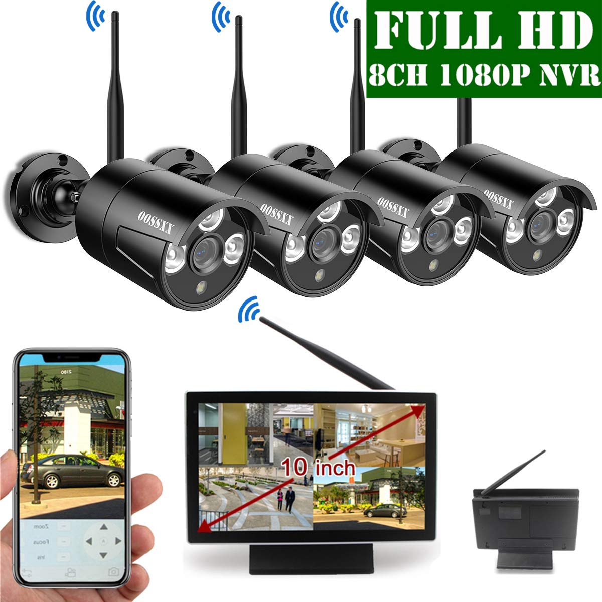 【2019 Update】 10 inch Screen HD 1080P 8-Channel Outdoor Wireless Security Camera System,4pcs 1080P Wireless IP67 Weatherproof IP Cameras,70FT Night Vision,P2P,App, NO Hard Drive by OOSSXX