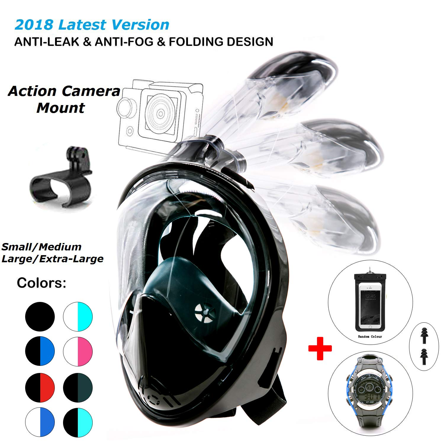 180° Snorkel Mask View for Adults and Youth. Full Face Free Breathing Folding Design.[Free Bonuses] Cell Phone Universal Waterproof Case and 30m Waterproof Watch (Black&DarkGreen, Small/Medium)
