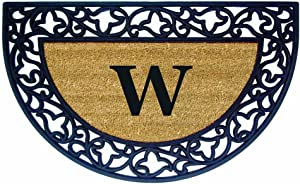 Nedia Home Acanthus Border with Half Round Rubber/Coir Doormat, 22 by 36-Inch, Monogrammed W