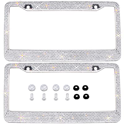 Bling Bling License Plate Frames 2 PACK - Pure Handmade Waterproof Glitter Rhinestones Crystal White License plate Frame for Cars with 2 Holes Bonus Matching Screws Caps Set: Automotive
