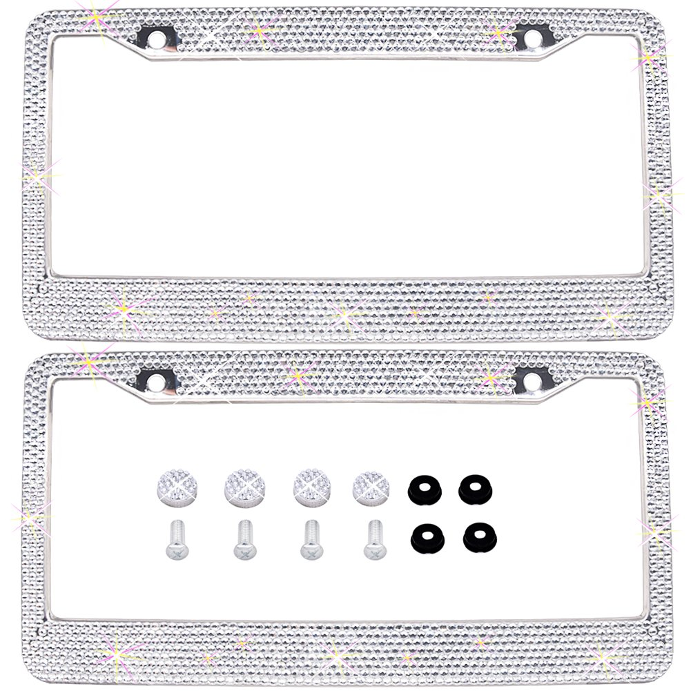 Bling Bling License Plate Frames 2 PACK - Pure Handmade Waterproof Glitter Rhinestones Crystal White License plate Frame for Cars with 2 Holes Bonus Matching Screws Caps Set FEENM