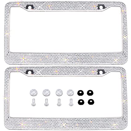 Amazon.com: Bling Bling License Plate Frames 2 PACK - Pure Handmade ...