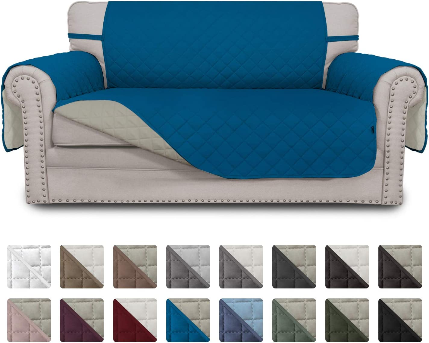 Easy-Going Sofa Slipcover Reversible Loveseat Cover Water Resistant Couch Cover Furniture Protector with Elastic Straps for Pets Kids Children Dog Cat(Loveseat,PeacockBlue/Beige)