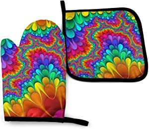 Foruidea Tie Dye Abstract Rainbow Color Oven Mitts and Pot Holders Sets Kitchen Heat Resistant Oven Gloves for BBQ Cooking Baking Grilling Machine Washable (2-Piece Sets)