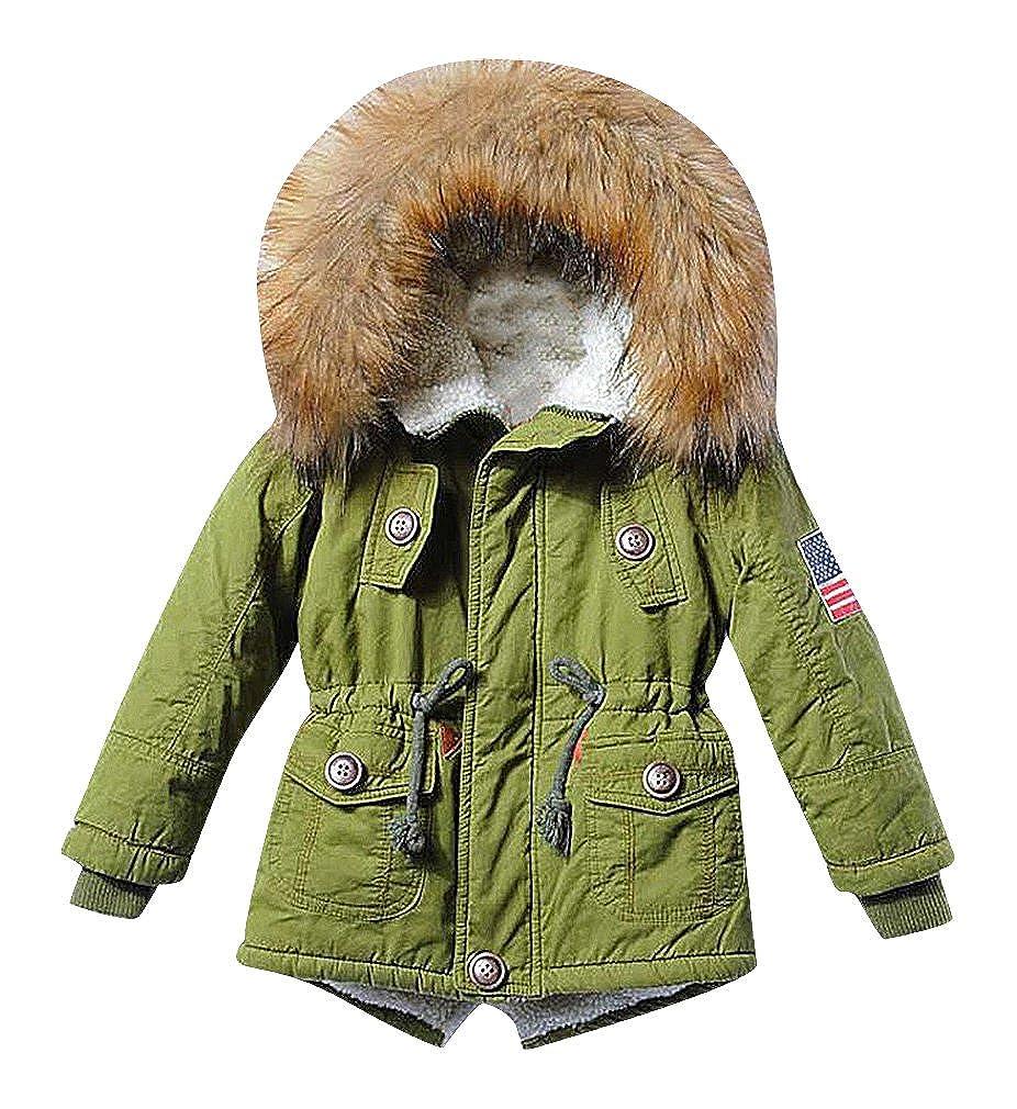 Sweety Kids 1 Color Zipped Drawcord Waist Fur Lined Hood Fleece Padded Parka