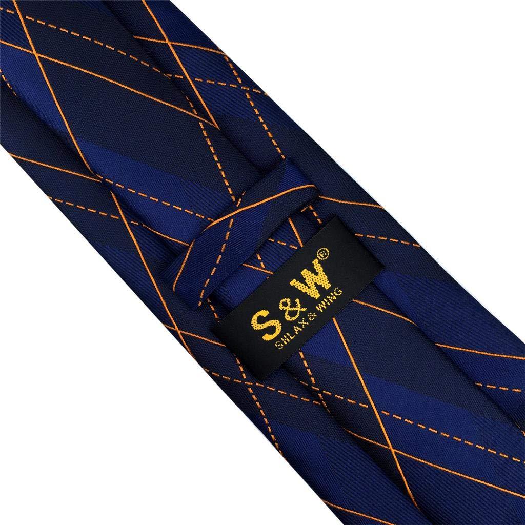 S/&W SHLAX/&WING Mens Tie Sets Azul Naranja Geom/étrico Seda Nuevo Dise/ño