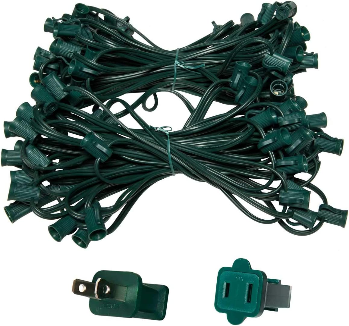 C7 E12 Light Stringer, E12 Sockets, 12 Socket Spacing, Outdoor String Light Patio Stringer Christmas Lights Stringer, Fits C7 Size Incandescent or LED Bulbs 100 ft 100 Sockets, Green Wire