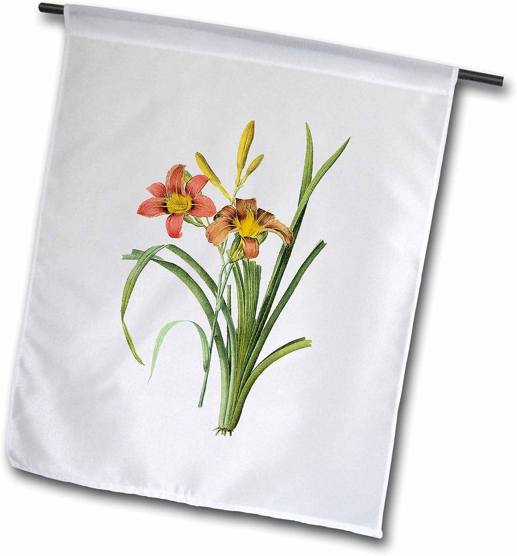 "3dRose fl_106755_2""Redoute Vintage Watercolor Floral Common Daylily Hemerocallis Fulva Garden Flag, 18 x 27"