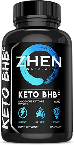 Zhen Naturals Premium Keto BHB Salts 800mg Supplement Supports Energy, Ketosis Focus – Exogenous Ketones Pills Beta-hydroxybuytyrates Fat Burner -60 Capsules