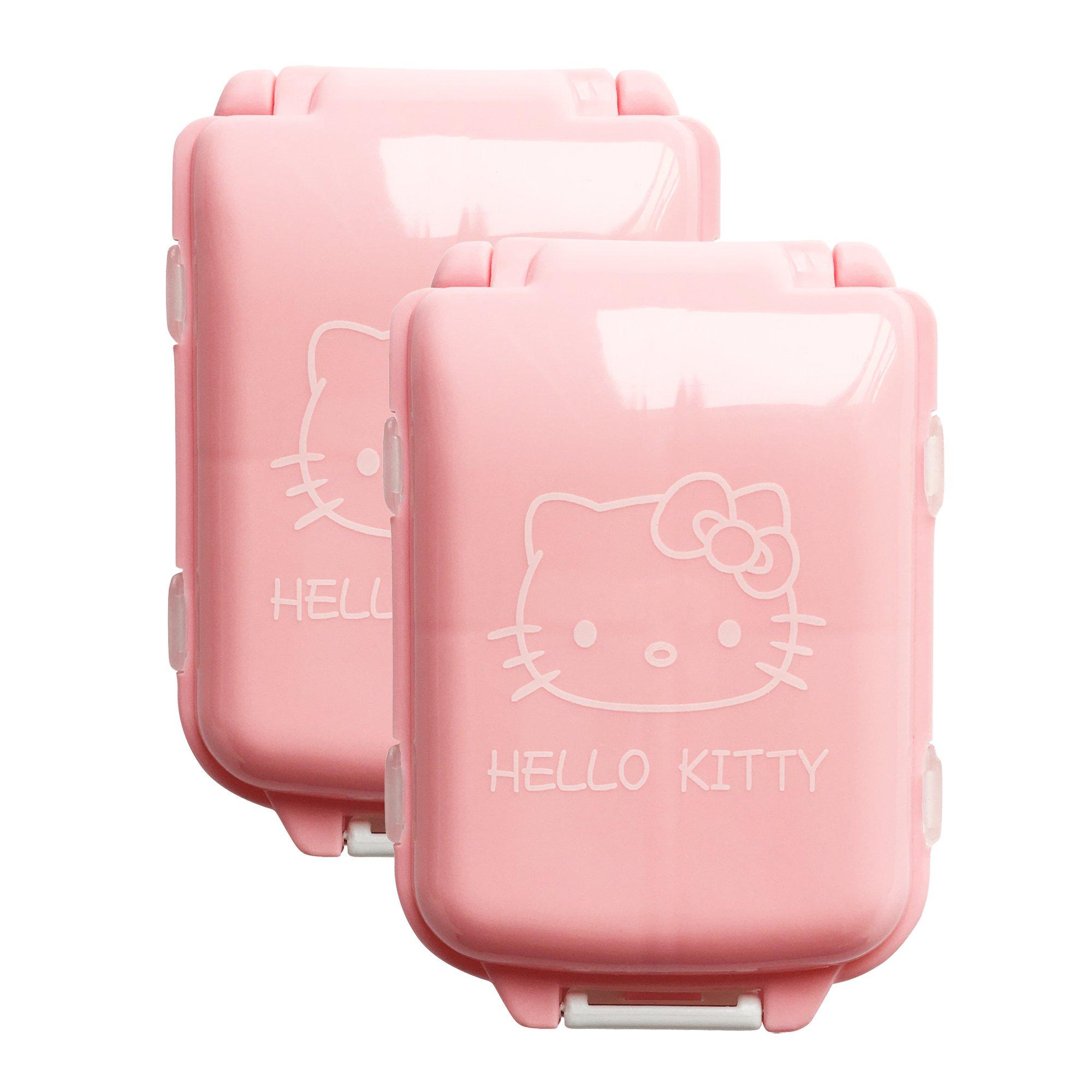 b97412d888 BeneAlways 2 Pcs of Hello Kitty Portable Pill Box Case Holder Organizer  Storage for Medicine Tablet