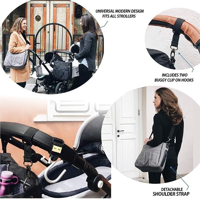 Grey Pram Organiser Bag Universal Buggy Changing Orginser for Buggy and Stroller Nappy Changing Bag