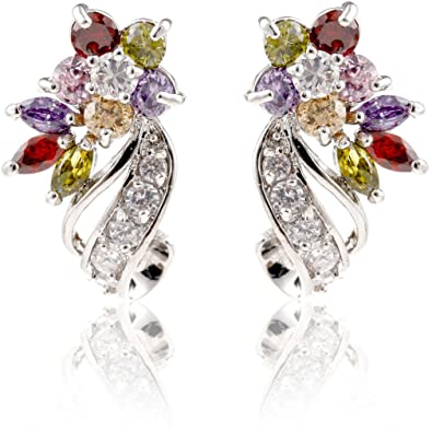 Yazilind Dazzling Rhodium Plated Colorful Round Cut Flawless Cubic Zirconia Snowflake Stud Earrings i3UhrTg