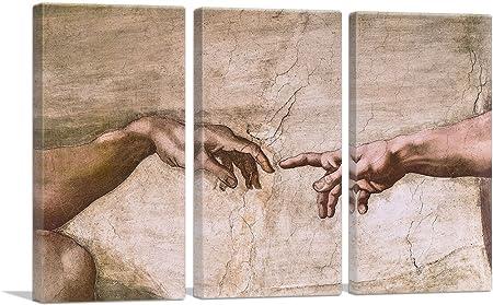 ARTCANVAS Sistine Chapel Ceiling – God and Adam Hands Detail Canvas Art Print by Michelangelo – 90 x 60 1.50 Deep 3-Piece