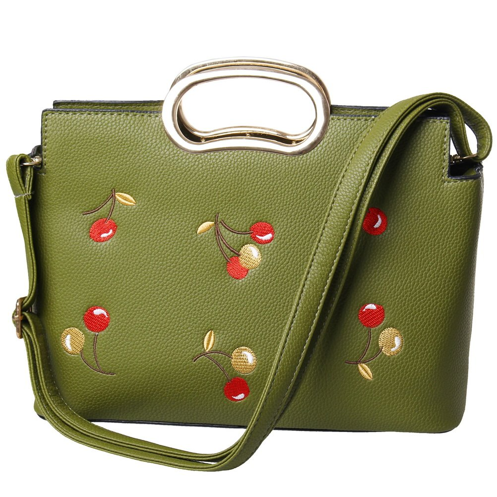 Fashion Women Shoulder Bag, PU Leather Large Ladies Top Handle Satchel Tote Bag Purse Crossbody Bag Handbag Dark Green