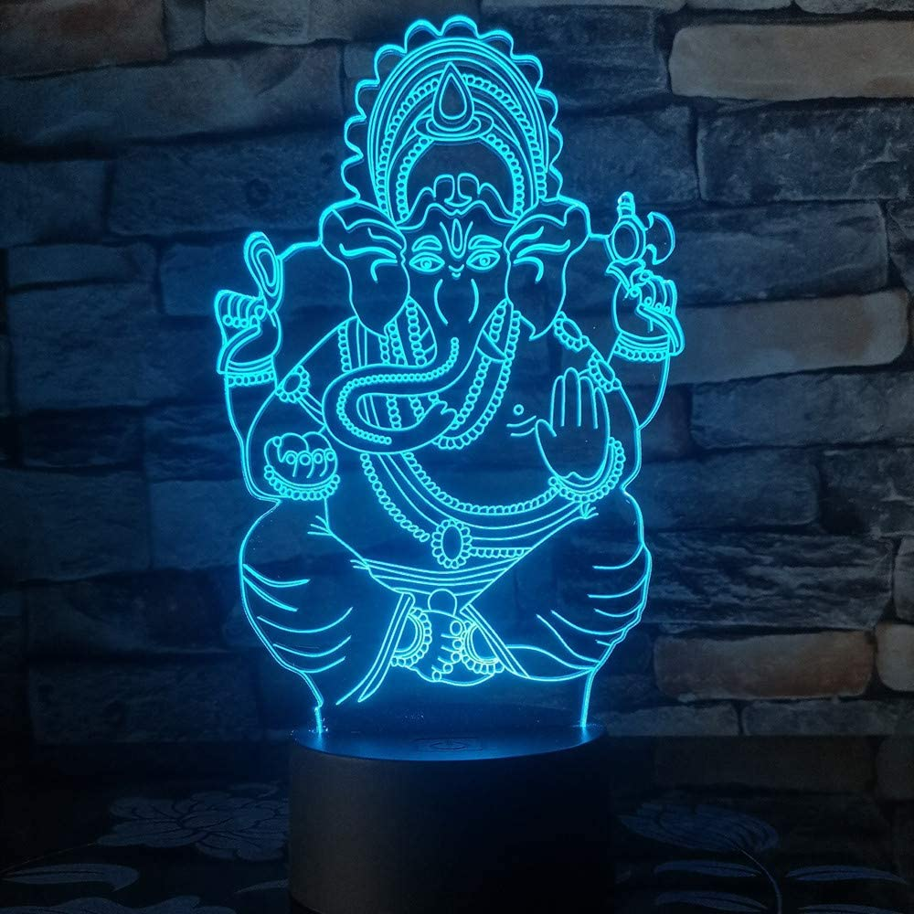 KangYD Elephant Head God 3D Illusion Lamp, LED Night Light, Kid Gift, Table Lamp, Lámpara de humor, F - Bluetooth Audio Base 5 Color: Amazon.es: Iluminación