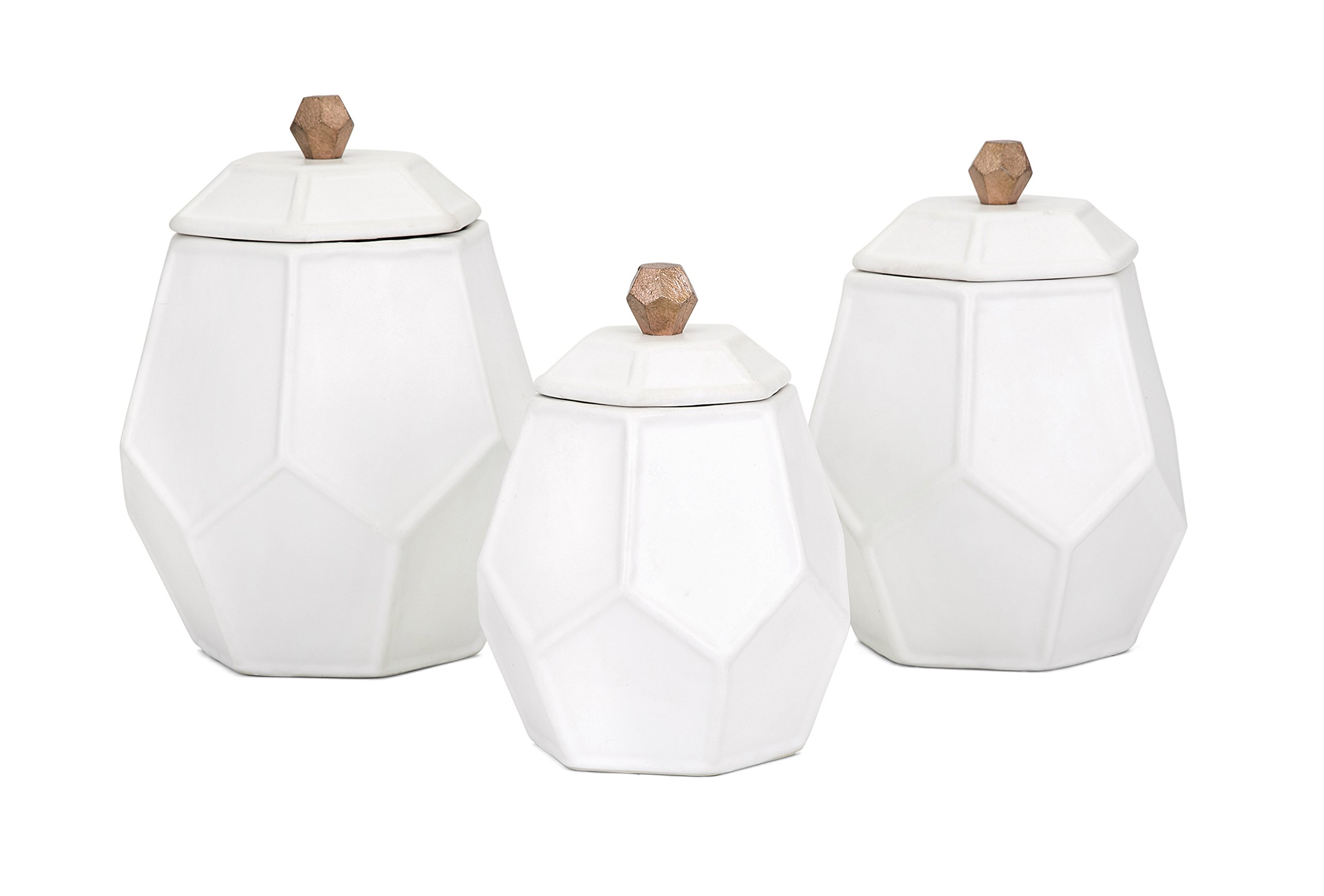 Trisha Yearwood Home Collection 95809-3 Ty Songbird Geometric Canisters - Set of 3 Trisha Yearwood Home Set of 3 Songbird Geometric Canisters by Imax