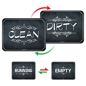 Clean Dirty Dishwasher Magnet with Empty Running Flip Sign, 4 x 3inches Chalkboard Style Reversible Double Sided Sign, Dishwasher Accessories, Kitchen Label for Home Organization